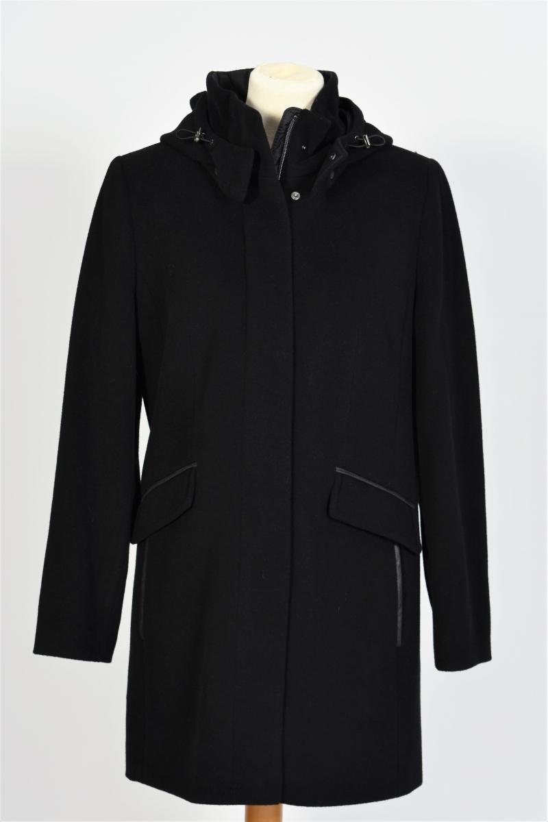manteau noir laine à capuche