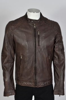 blouson cuir mouton agency marron